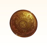 Tiara Crystal Sandwich Amber Collection 10-inch Round Tray