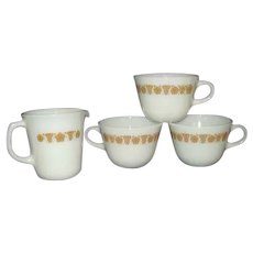 Corning Pyrex Butterfly Gold Milk Glass Creamer and 3 Cups
