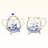 Delft Blue Footed Sugar Creamer Set Miniatures Korea