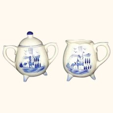Delft Blue Footed Sugar Creamer Set Korea