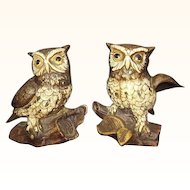 Owl Figurines Homco 1114 Pair from 1970s