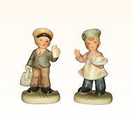 Napcoware Village Children Baker Boy and Milkman Figurines C-8811