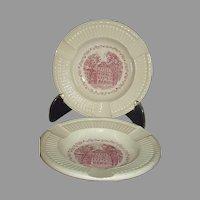 Wedgwood 1957 Swarthmore College Parrish Hall Ashtrays Mulberry Transferware