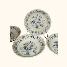Nikko Japan Ming Tree-Blue Fruit Dessert Sauce Bowls Set of 4