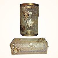 Vintage Vanity Waste Can and Tissue Box Holder Set Metal Mesh Florals 1960s