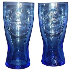 McDonalds Blue Beverage Glasses Pair Dated 1961