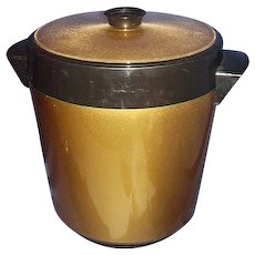 Thermo-Serv West Bend Insulated Ice Bucket Metallic Gold Black Made in USA