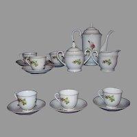 Moss Rose China Tea Set or Demitasse Coffee Set 17 Pieces 1950s Japan