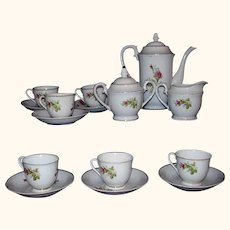 Moss Rose China Tea Set or Demitasse Coffee Set 17 Pieces 1950s Japan