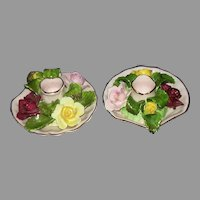 Denton Best Bone China England Roses Bouquet Candle Holders Set