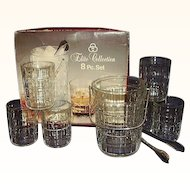 Italian Crystal Ice Pail 6 Tumblers Ice Tongs 8 Piece Set Elite Collection Original Box