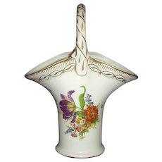 Royal Europe Peinte a la Main Porcelain Basket Vase Handpainted Florals with Gold Gilt Accents