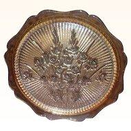Jeanette Iris and Herringbone Marigold Glass Platter Circa 1950