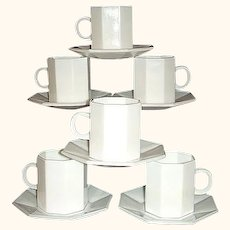 Arcopal France Novoctime White Demitasse Set 6 Octagonal Cups and Saucers