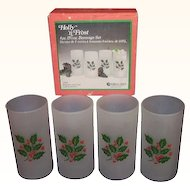 Indiana Glass Holly n Frost 4 piece Holiday Beverage Set MIB