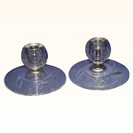 Art Deco Style Clear Glass Candle Holders Etched Leaf Design Set of 2