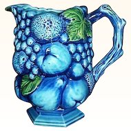 Inarco Mood Indigo-Blue Fruit Pitcher E-2429 Japan 24 Ounces