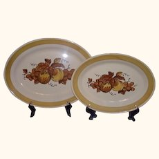 Metlox Poppytrail Golden Fruit Oval Platters California 1960-71 Set of 2