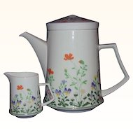Mikasa Teapot and Creamer Petit Point A4-183 Bone China Narumi Japan 1974-76
