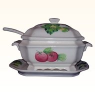 Soup Tureen Set with Ladle and Underplate All White with Hand Painted Vegetables