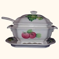 Soup Tureen, Ladle, Underplate 4 Pieces All White Hand Painted Colorful Vegetables
