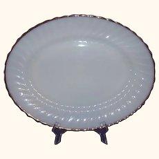 Anchor Hocking Swirl Golden Shell Milk Glass Platter 2390 Large 15.5 inches 22K Gold Rim