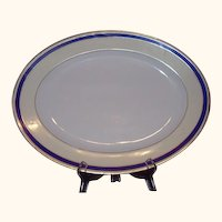 Ahrenfeldt Limoges Oval Platter Cobalt Blue Band with Gold Trim AHR355 16 Inches
