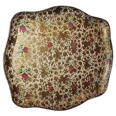 Paper Mache Tray by Highmount Gold Florals Pink Rose Accents