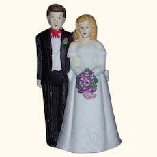 Bride and Groom Wedding Cake Topper Bisque Porcelain 1980s