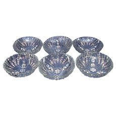 Hocking Burple Clear 3-Toed Small Dessert Bowls Set of 6 Depression Glass
