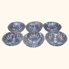 Hocking Burple Clear 3-Toed Small Dessert Bowls Set of 6 Depression Glass