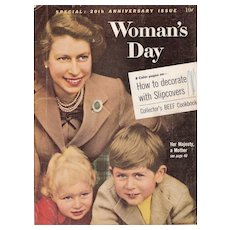 Woman's Day Magazine Queen Elizabeth - Her Majesty, A Mother - October 1957 20th Anniversary Issue