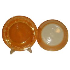 Fire King Peach Lustre Laurel Rim Soup Bowls Made 1951 to 1960