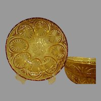 Medallion Yellow Anchor Hocking Large Glass Dessert Bowls Set of 3