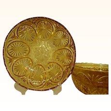 Medallion Yellow Anchor Hocking Large Glass Dessert Bowls Set of 3