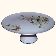 Shafford Ecstasy Butterflies Cake Stand Pedestal Cake Plate 1970s Japan