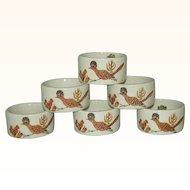 Shafford Roadrunner Bird Porcelain Napkin Rings Japan Complete Set of 6 1970s