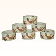Shafford Roadrunner Bird Porcelain Napkin Rings Japan Complete Set of 6 1970s
