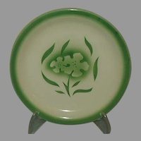 Sterling Restaurant Ware Airbrushed Green Floral Bread and Butter Plate 1950s