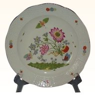 Limoges Hard Paste Porcelain Plate MMA Reproduction of 1735 Royal Saxon Meissen Germany