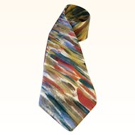 Jerry Garcia Silk Necktie Colorful Diagonal Geometric Design 57 Inches Made in USA 1990s