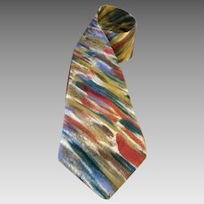 Jerry Garcia Silk Necktie Colorful Diagonal Geometric Design - 57 Inches - Made in USA 1990s