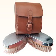Art Deco Chrome and Wood Men's Clothes Brushes Set with Original Leather Case Circa 1930 Made in England