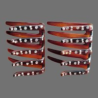 Hair Combs Set of 2 Faux Tortoise Shell with Rhinestones and Tiny Faux Pearls