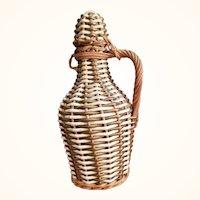Woven Braided Wicker and Vinyl Covered Glass Vinegar or Oil Bottle 1960s