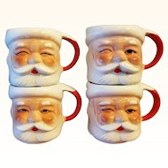 Santa Mugs Set of 4 1960s Santa Cup Mid Century Made in Japan