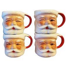 Santa Mugs Set of 4 1960s Santa Cup Mid Century Made in Japan
