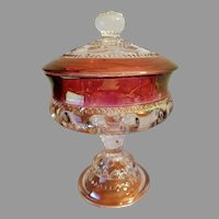 King's Crown Ruby Flash Compote Candy Dish Tiffin Franciscan 4016