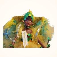 Rio de Janeiro Rio Brasil Black Souvenir Doll Festive Ruffled Tulle and Feathers Costume