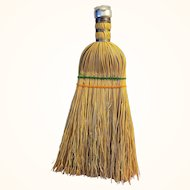Whisk Broom Natural Straw Brush 10 inches Long with Top Metal Cap